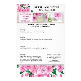 Business cherry blossom watercolor 4 photo spa flyer