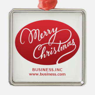 Business Christmas Modern Swirly Type Red Christmas Ornament