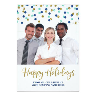 Business Christmas Photo Card Gold Blue Confetti