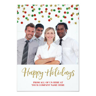 Business Christmas Photo Card Gold Red Confetti