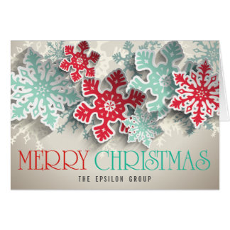 Business Corporate Snowflakes Merry Christmas Card