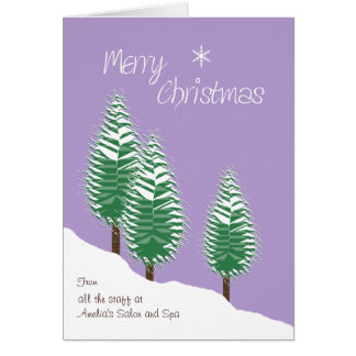Business Custom Front Merry Christmas Lavender Greeting Card