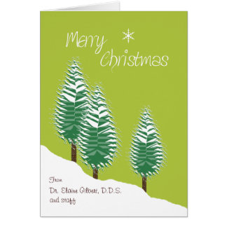 Business Custom Front Merry Christmas Trees Lime Greeting Card