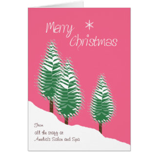 Business Custom Front Merry Christmas Trees Pink Greeting Card