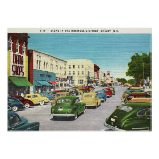 Business District, Shelby, North Carolina Vintage Poster