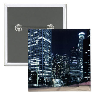 business district with big city lights during 15 cm square badge