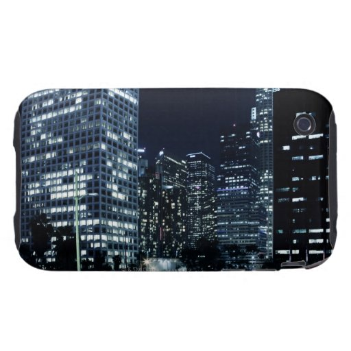 business district with big city lights during tough iPhone 3 cover