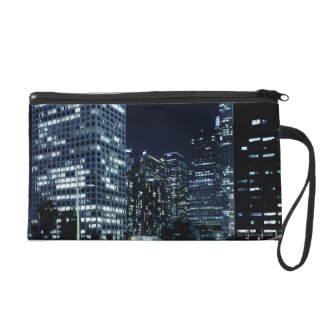 business district with big city lights during wristlet