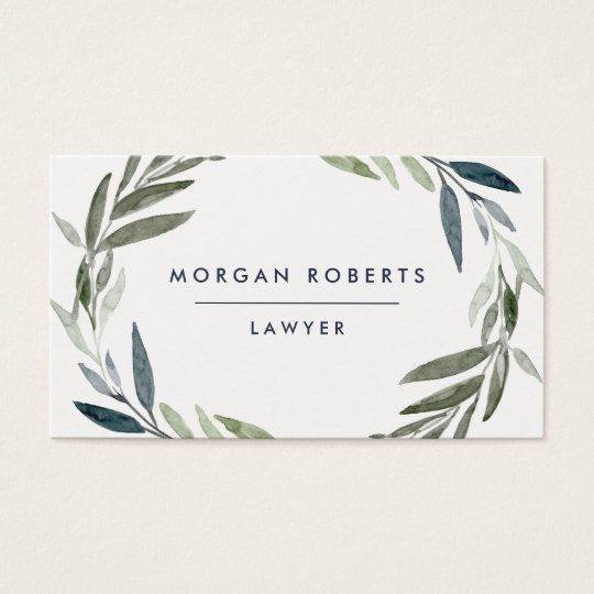 Business Green Olive Leaf Wreath Professional Business Card
