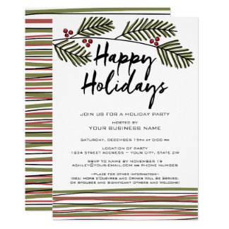 Business Holiday Party with Pine Tree Branches 13 Cm X 18 Cm Invitation Card
