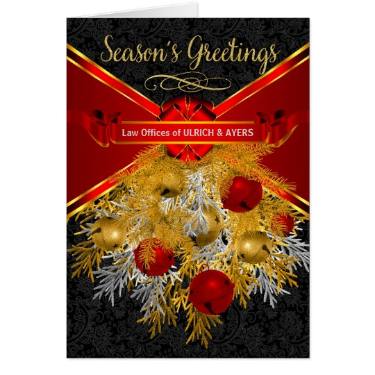 Business Holiday Sleigh Bells in Red and Gold