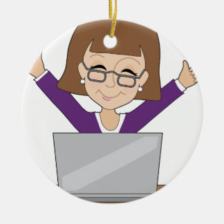 Business Lady Laptop Christmas Ornament
