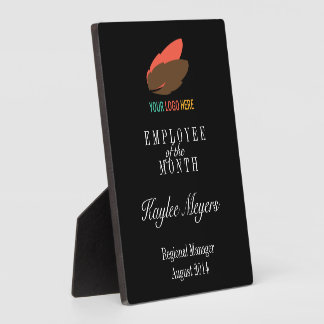 Business logo employee of the month award photo plaque