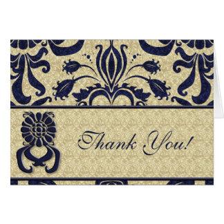 Business Logo Thank You Indigo Swirls Navy Taupe Card