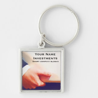 Business Man Holding Laptop or Planner Silver-Colored Square Key Ring