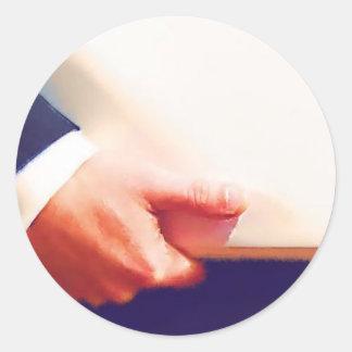 Business Man Holding Laptop or Planner Round Sticker