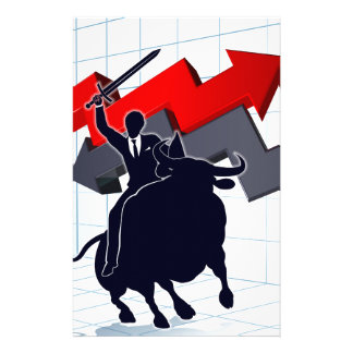 Business Man on Bull Profit Concept Stationery