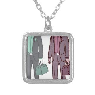 Business Man Square Pendant Necklace