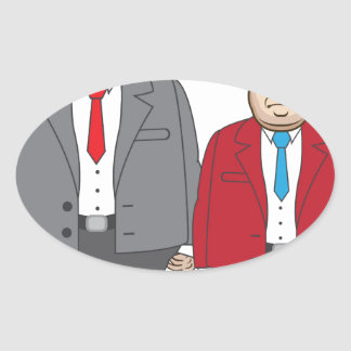 Business Man with Money Oval Sticker