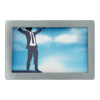 Business Man With Raised Arms Concept Rectangular Belt Buckles