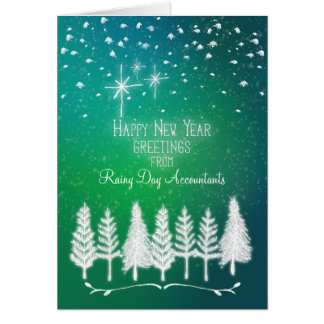 Business Name Happy New Year Custom Name Trees Greeting Card