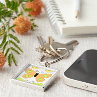 business office home friend family colorful art Silver-Colored square key ring