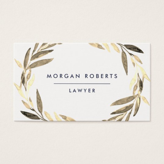 Business Olive Gold Leaf Wreath Professional Business Card