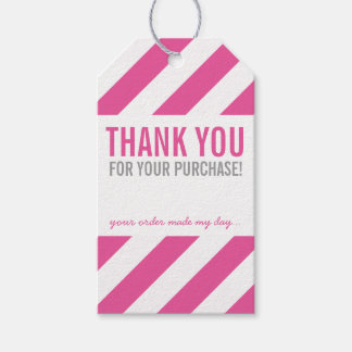 BUSINESS PACKAGING THANK YOU bold stripe pink Gift Tags