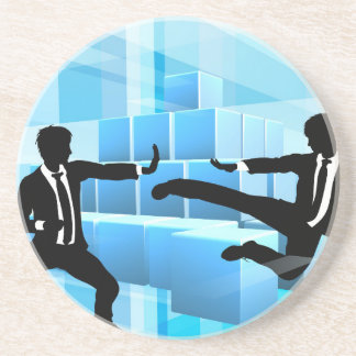 Business People Fighting Competition Concept Drink Coasters