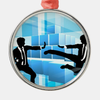 Business People Fighting Competition Concept Silver-Colored Round Decoration