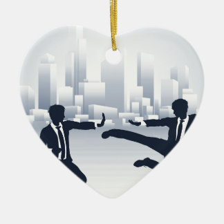 Business People Kung Fu Fighting Ceramic Heart Decoration