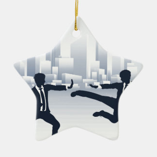 Business People Kung Fu Fighting Ceramic Star Decoration