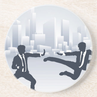 Business People Kung Fu Fighting Drink Coaster