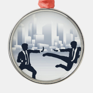 Business People Kung Fu Fighting Silver-Colored Round Decoration