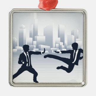 Business People Kung Fu Fighting Silver-Colored Square Decoration