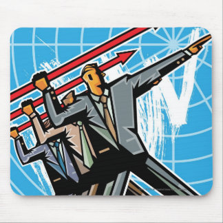Business people throwing arrow sign mouse mat