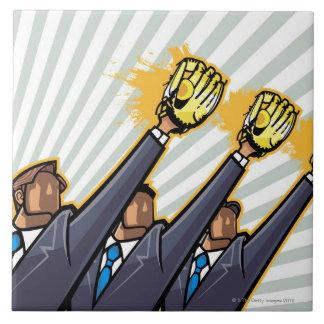 Business people wearing baseball glove tile