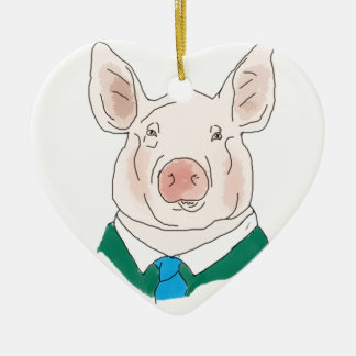 Business Pig Drawing Ceramic Heart Decoration