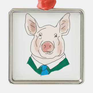 Business Pig Drawing Silver-Colored Square Decoration