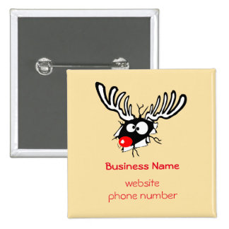 Business Promotional Crazy Red Nosed Reindeer 15 Cm Square Badge