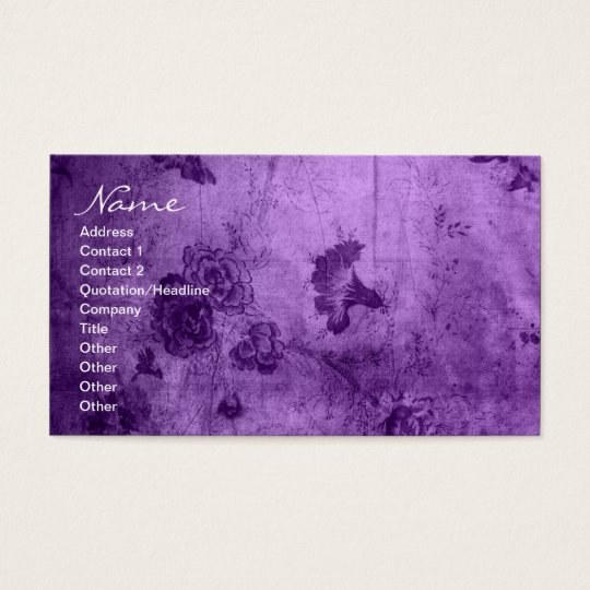 Business Purple Vintage Floral Texture Business Card