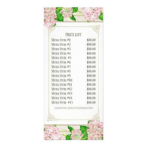 Business Rate Card - Rose Hydrangea Florist Floral Rack Card Design