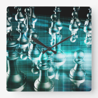 Business Strategy with a Chess Board Concept Square Wall Clock