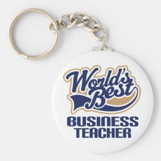 Business Teacher Gift (Worlds Best) Basic Round Button Key Ring