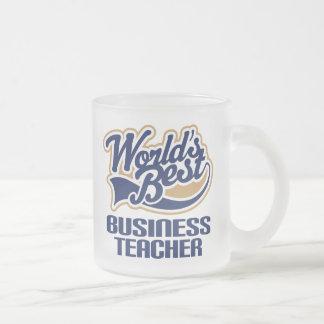 Business Teacher Gift (Worlds Best) Frosted Glass Mug