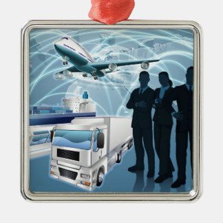 Business Team Logistics Concept Silver-Colored Square Decoration