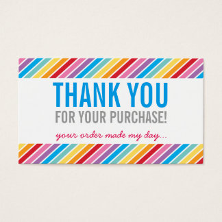 BUSINESS THANK YOU bright colorful rainbow stripe Business Card