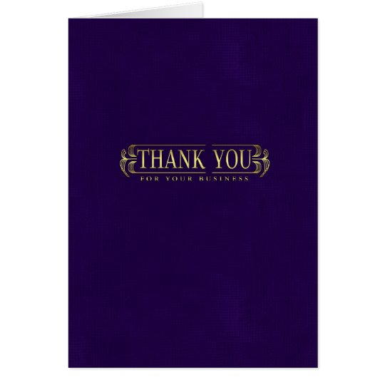 business thank you card in purple and gold effect