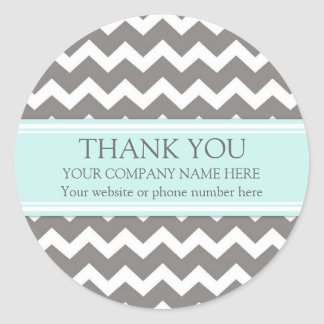 Business Thank You Company Aqua Grey Chevron Classic Round Sticker