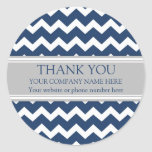Business Thank You Company Name Blue Grey Chevron Round Stickers